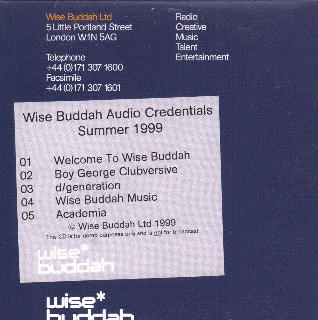 WISE BUDDHA AUDIO CREDENTIALS SUMMER 1999 - S/T - CD-ROM