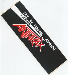 ANTHRAX (METAL GROUP) - Rijnhal Arnhem 11/7/89 - Sticker