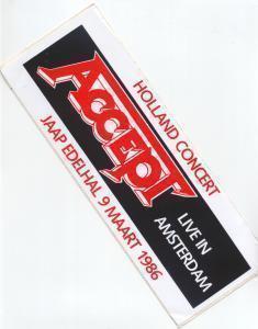ACCEPT - Amsterdam Jaap Edelhal 9/3/86 - Sticker