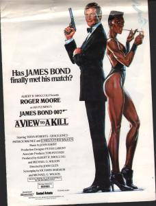 JAMES BOND (FILM) - A View To A Kill - Poster / Display