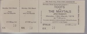TOOTS AND THE MAYTALS - Free Trade Hall Manchester 15th March 1976 - Place concert / soirée