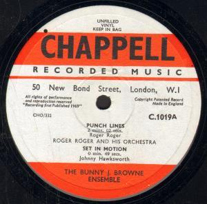ROGER ROGER & HIS ORCHESTRA / BUNNY J. BROWNE ENSE - Punch Lines / Set In Motion - 25 cm