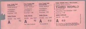THIRD WORLD (REGGAE) - Free Trade Hall Manchester 1st Oct 1981 - Place concert / soirée