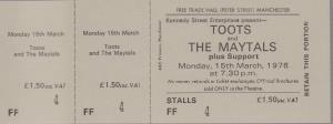 TOOTS AND THE MAYTALS - Manchester Free Trade Hall 15th March 1976 - Place concert / soirée