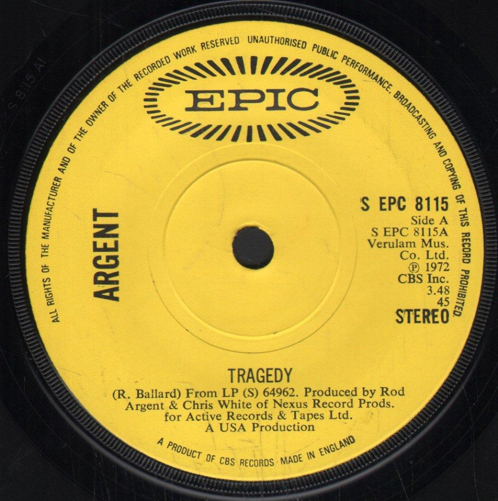 ARGENT - Tragedy - 45T (SP 2 titres)